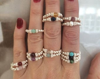 Sterling Silver BIRTHSTONE RING stackable tiny gemstone ring beaded stretch ring stacking jewelry custom jewellery gift for girl mum sister