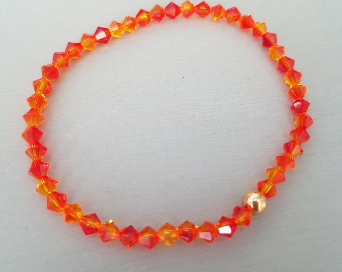 Fire Opal Swarovski crystal stretch bracelet Sterling Silver or Gold Fill bead tiny 4mm orange crystal bead bracelet Stacking Boho gift