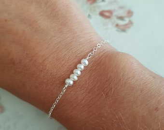 Tiny Freshwater seed Pearl bracelet Sterling Silver 18K Gold Fill Rose Gold Fill small white real pearl bracelet June Birthstone jewelry