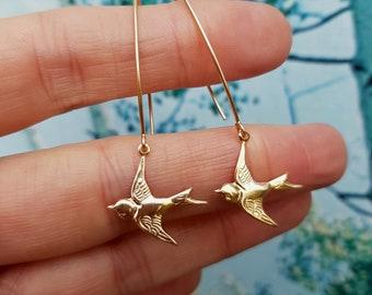 18K Gold Fill bird earring long hooks, Gold unique swallow bird earrings Handmade Gold bird earrings 18K Gold Fill jewelry jewellery gift