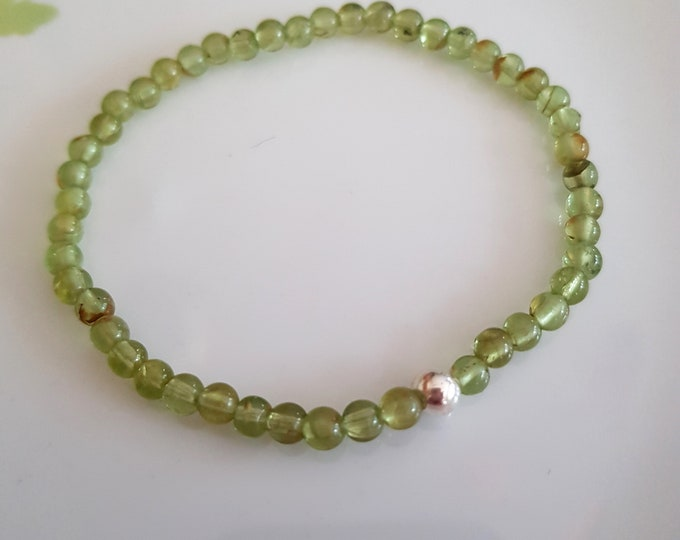 PERIDOT Stretch Bracelet Sterling Silver or 14k Gold Fill tiny green gemstone bead bracelet healing jewellery August Birthstone jewelry gift