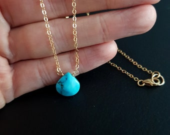 18K Gold fill tiny Turquoise choker necklace small blue gemstone necklace layering December Birthstone jewellery minimalist Jewellery gift