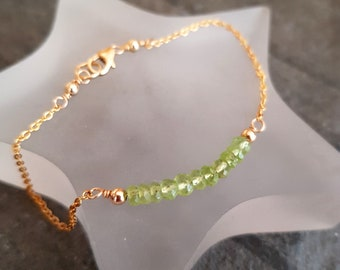 18K Gold Fill Tiny Peridot bracelet or Sterling Silver green gemstone bead bracelet stacking bracelet August Birthstone jewelry Chakra gift