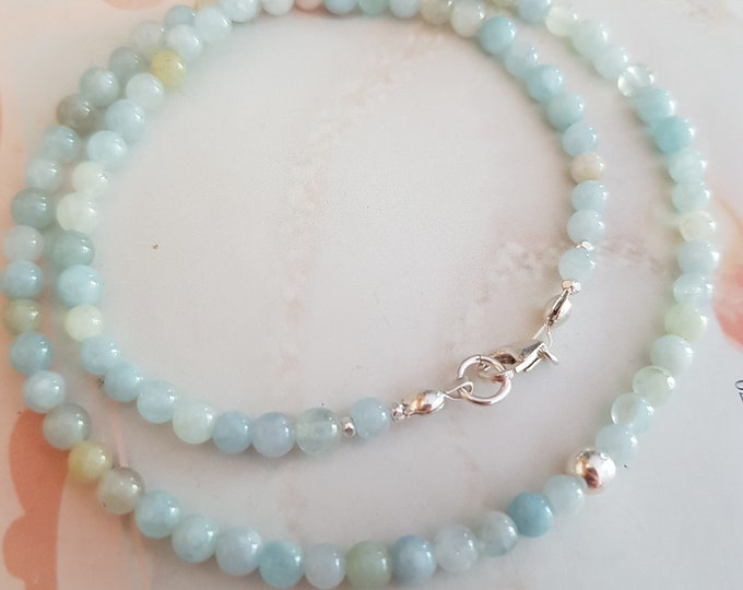 Tiny Aquamarine choker necklace Sterling Silver Goldfill 4mm natural real blue Aquamarine gemstone bead necklace March Birthstone jewellery