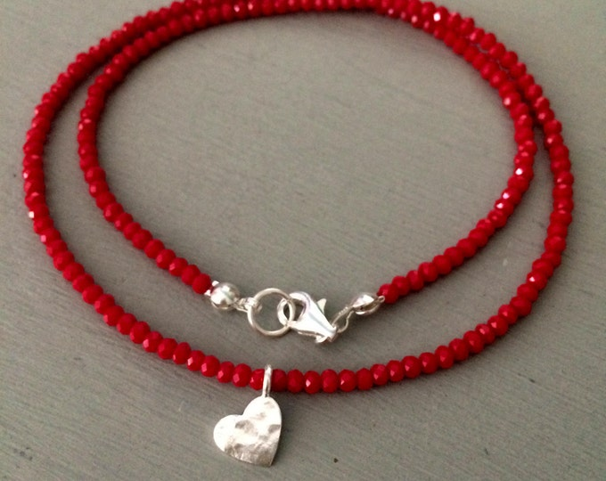 Tiny Red crystal choker necklace Sterling Silver hammered heart pendant red bead necklace beaded jewellery mum girlfriend teenage girl gift