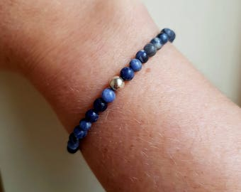 Blue Sodalite stretch bead Bracelet Sterling Silver or Gold Fill 4mm small blue beaded bracelet Chakra jewellery Stacking Boho jewelry gift