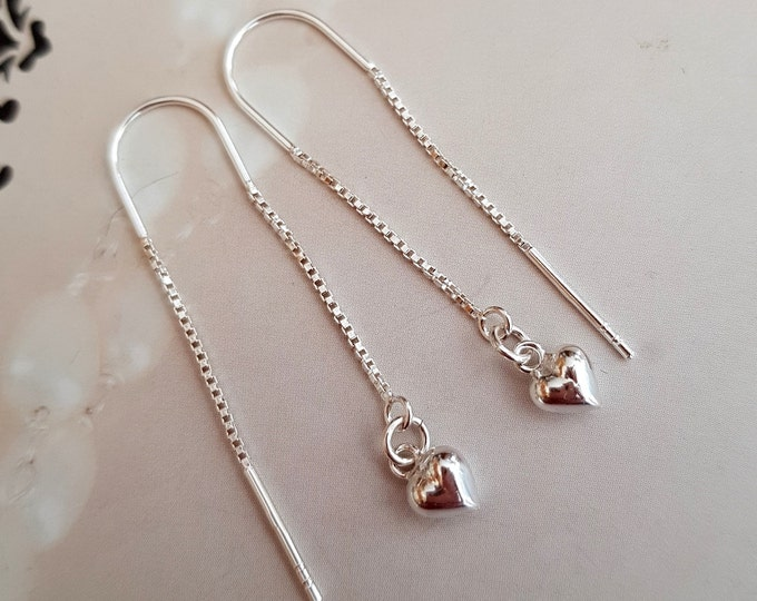Tiny Sterling Silver heart threader earrings simple Silver jewelry gift for mum, girlfriend, bridesmaids daughter gift boxed