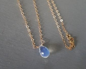 Tiny Opal Quartz necklace choker 18K Gold Fill / Sterling Silver Opalised Quartz teardrop wire wrap October birthstone Opal gemstone jewelry