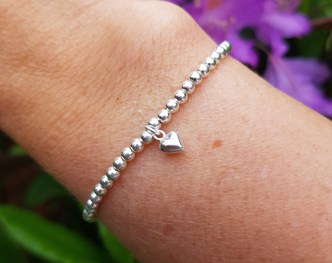 Sterling Silver stretch bead bracelet with tiny heart Simple 3mm Silver beaded bracelet stacking bracelet Valentine's gift for girlfriend