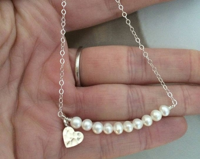 Small Freshwater Pearl bracelet Sterling Silver hammered heart tiny white seed pearl bracelet real pearl jewelry jewellery gift box