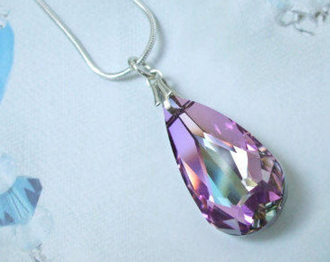 Vitrail Purple Swarovski Crystal Drop Necklace on a  Sterling Silver chain of choice