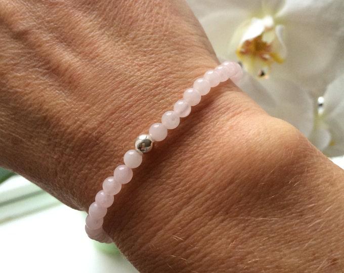 Rose Quartz STRETCH Bracelet Sterling Silver Small Bead pink GEMSTONE Bracelet small tiny beaded Bracelet January Birthstone jewelry gift