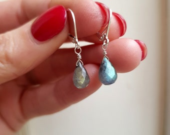 LABRADORITE earrings Sterling Silver wire wrapped small faceted teardrop gemstone earring blue grey earrings gray Moonstone jewelry gift