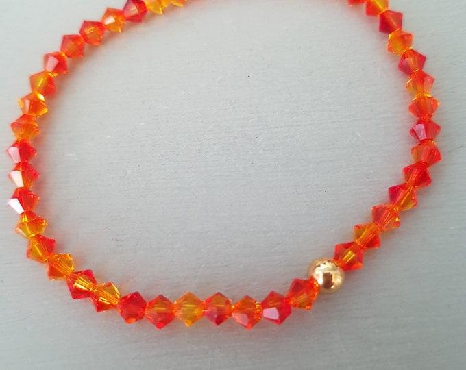 Orange Swarovski crystal stretch bracelet Sterling Silver or Gold Fill bead tiny 4mm crystal bead bracelet Fire Opal Swarovski jewelry gift