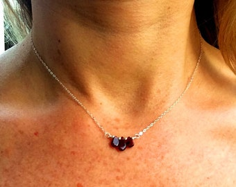 Tiny Garnet necklace choker Sterling Silver  or 18K Gold Fill - January Birthstone gift