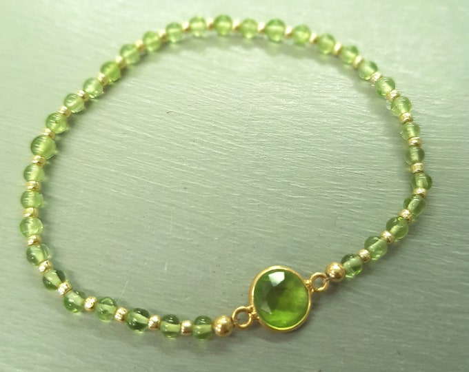 Gold Fill Peridot Bracelet tiny green gemstone Bead Bracelet stretch stacking August Birthstone jewelry Chakra jewellery real Peridot Gift
