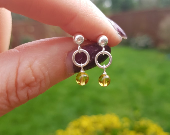 Tiny Citrine earrings Sterling Silver studs small Yellow gemstone drop earrings November Birthstone jewellery Chakra Jewelry gift for girl