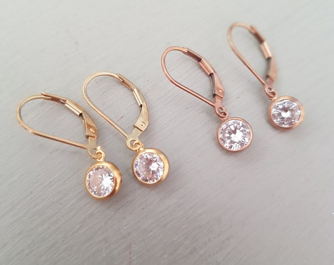 Tiny Gold Fill CZ Diamond earrings leverback or Rose Gold Fill small clear CZ drop earrings April Birthstone jewellery minimalist jewelry