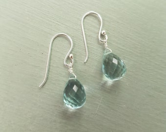 Aquamarine earrings Sterling Silver hooks wire wrapped small teardrop gemstone earrings blue earrings March Birthstone jewelry gift