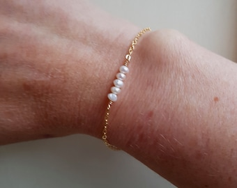 Tiny Freshwater Pearl bracelet 18K Gold Fill or Sterling Silver small white seed pearl bracelet real pearl June Birthstone jewelry jewellery