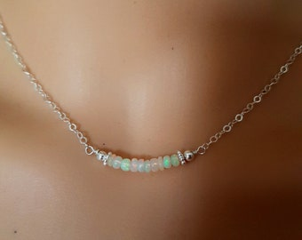 Ethiopian Opal necklace choker Sterling Silver or Gold Fill - Opal jewelry October Birthstone jewellery gift for her - Solar Plexus chakra