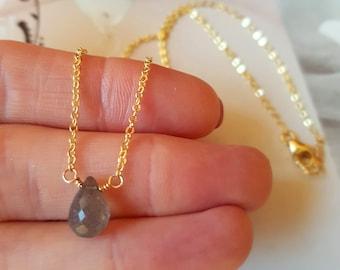 18K Gold fill Labradorite necklace choker Small tiny grey gemstone necklace simple Labradorite teardrop necklace dainty pendant jewelry gift