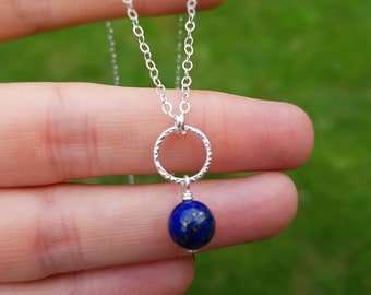 Sterling Silver Lapis Luzuli necklace, September Birthstone Jewellery, Gemstone Jewellery Chakra jewelry Gift