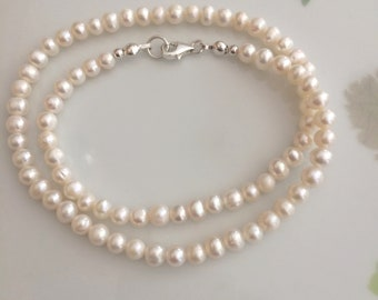 Small Freshwater Pearl necklace or choker Sterling Silver or Gold Fill  5mm white AA real pearl necklace June Birthstone jewellery gift mum