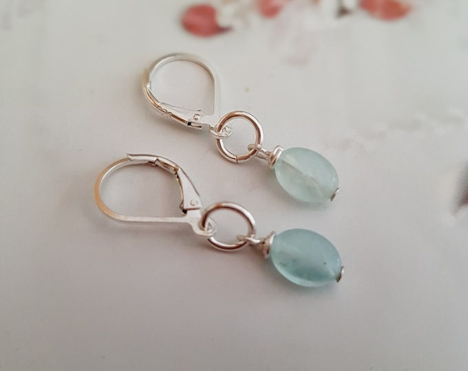 Tiny Aquamarine earrings Sterling Silver / 18K Gold Fill small blue gemstone earrings March Birthstone jewellery Chakra healing jewelry gift