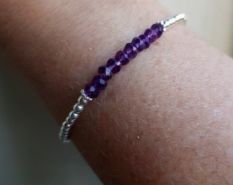 Sterling Silver AMETHYST stretch  Bracelet tiny 4mm purple gemstone bead Bracelet beaded February Birthstone jewellery gift stacking jewelry