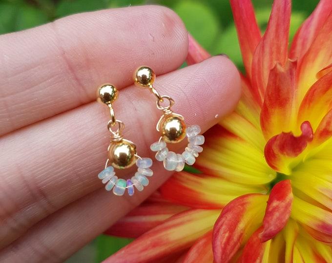 Tiny Ethiopian Opal earrings 18K Gold Fill or Sterling Silver stud Fire Opal earrings wire wrapped October birthstone jewellery jewelry gift