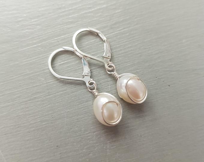White Baroque Freshwater pearl earrings Sterling Silver pearl drop earrings wire wrapped pearl earrings white pearl earrings bridesmaid gift