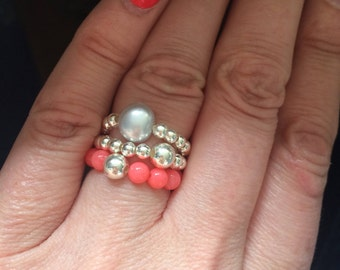 PINK CORAL Sterling Silver STRETCH ring - beaded stacking ring