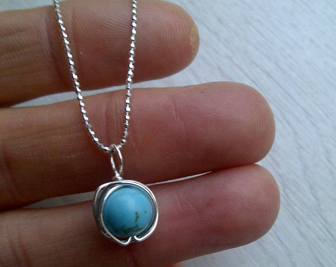 Sterling Silver Turquoise wire wrapped necklace - December Birthstone Jewellery Gift