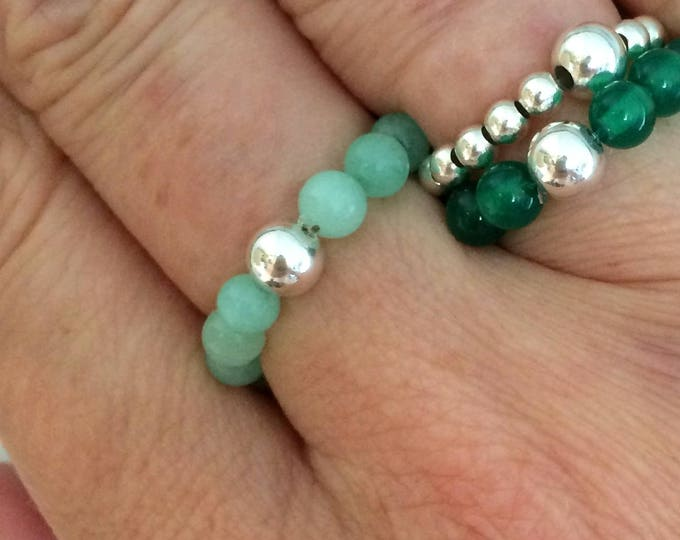 GREEN JADE RING Sterling Silver stretch ring beaded aqua green gemstone bead ring green stacking ring Jade jewelry chakra jewellery gift