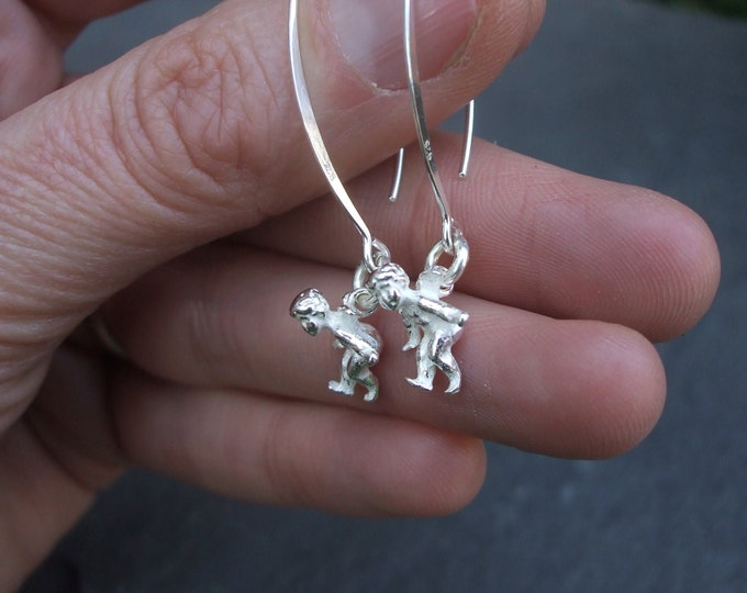 Sterling Silver angel earrings, Silver cupid earrings,  long Sterling Silver hooks, unusual unique handmade designer jewellery gift