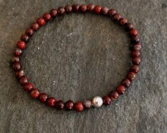 Red Jasper stretch bead Bracelet Sterling Silver real gemstone Bracelet simple 4mm tiny bracelet small Beaded healing Poppy Jasper jewellery