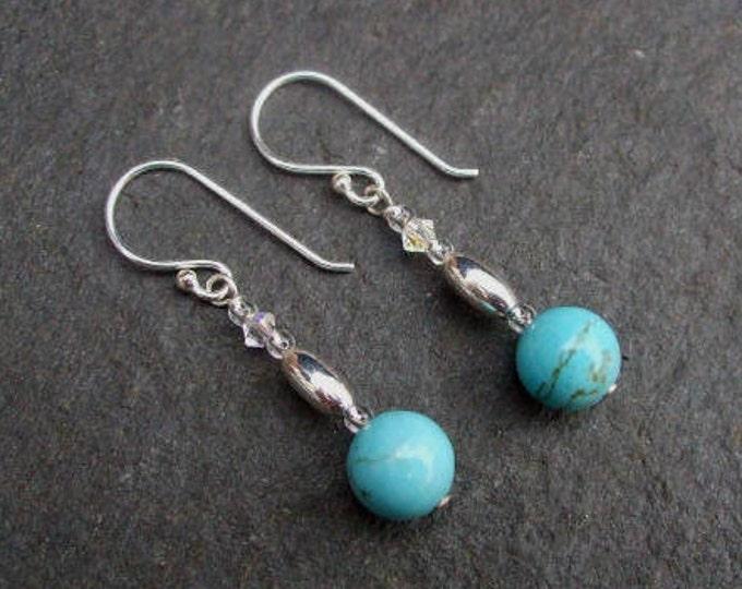 Turquoise gemstone bead earrings Sterling Silver - December Birthstone