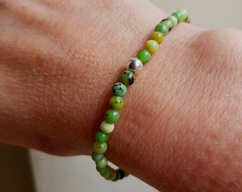 CHRYSOPRASE stretch bead Bracelet Sterling Silver or Gold Fill - May Birthstone - Chakra  Healing gift
