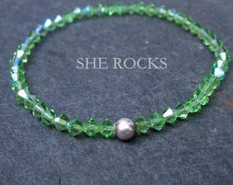 Peridot Green Swarovski crystal stretch bracelet Sterling Silver or Gold Fill bead - August