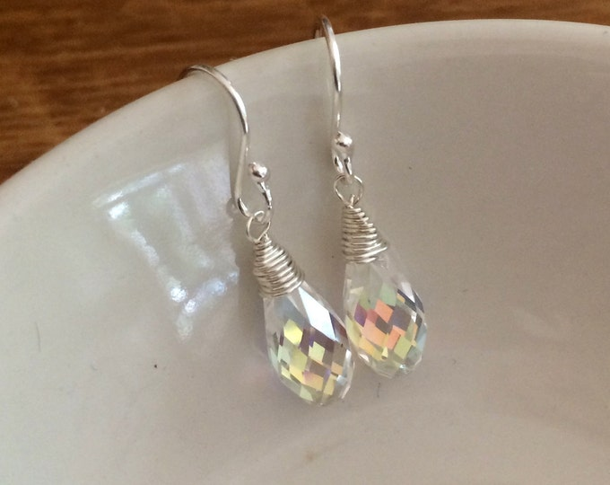 Clear AB Swarovski crystal teardrop earrings Sterling Silver wire wrapped also in 18K Gold Fill or 18K Rose Gold gift