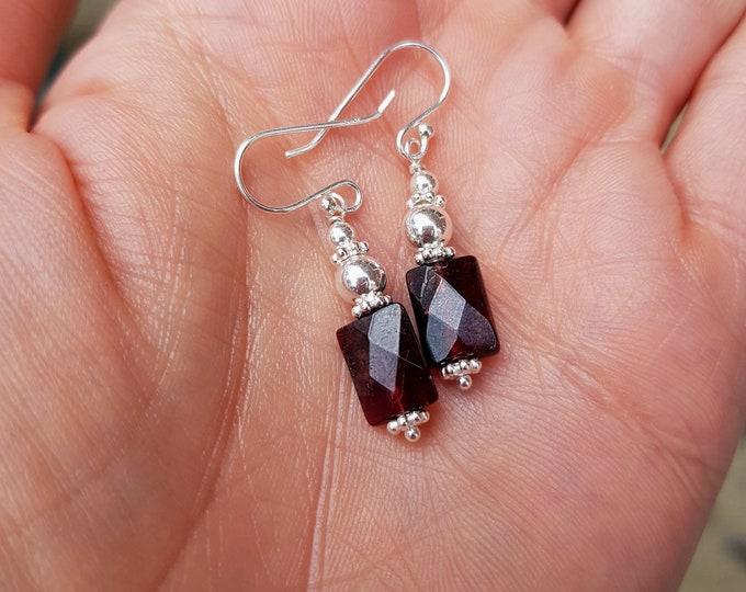 Garnet earrings Sterling Silver or Gold Fill small red Garnet gemstone earring January Birthstone jewellery Healing Chakra jewelry gift