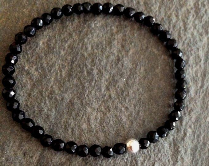 Skinny Black Onyx stretch Bracelet - Sterling Silver or Gold Fill bead bracelet- February Birthstone gift