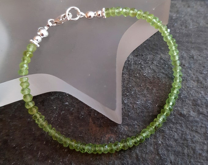 Sterling Silver Peridot bracelet or Gold Fill tiny 3-4mm AA real green Peridot gemstone bead bracelet August Birthstone jewellery gift mum