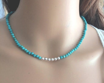 Turquoise choker necklace Sterling Silver or 18K Gold Fill real tiny blue gemstone bead necklace December birthstone jewellery gift