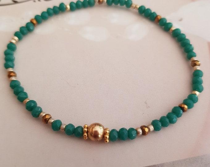 14K Gold Fill Tiny Emerald green crystal bracelet- boho jewelry gift