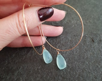 Gold Fill Aqua Chalcedony hoop earrings Aqua green gemstone Gold Hoop earrings Large fine hoops wire wrap BOHO jewelry Chakra jewellery gift