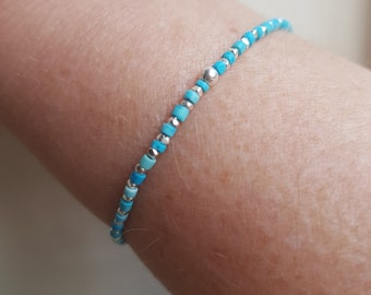 Tiny Sterling Silver Turquoise STRETCH Bracelet blue GEMSTONE bead Bracelet Heishi beaded stacking Bracelet December Birthstone jewelry gift