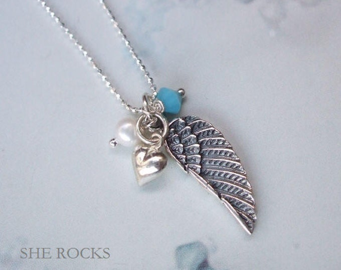 Sterling Silver Angel wing necklace personalised with your Birthstone