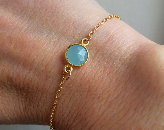 Tiny Aqua Chalcedony bracelet 18K Gold fill - gold stacking jewelry gift